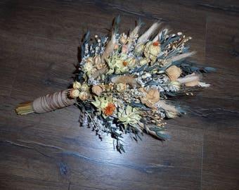 Dried flower wedding bouquet, rustic, country, sheaf