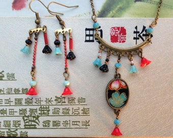Necklace, Japanese paper and flower glass beads.