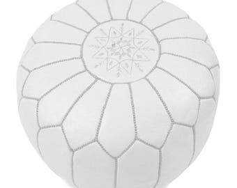 handmade moroccan leather pouf white pouf - Unfilled