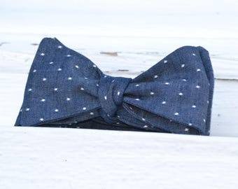Dots on Indigo Bow Tie | Chambray, Father Son, Matching Bow Ties, HANDMADE CUSTOM ORDER, Pre-Tie or Self-Tie | Mens, Boys, Toddler or Baby