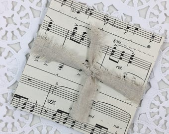 Music Sheet Paper Squares, Junk Journal, Mixed Media, Art Journal, Smash Book, Scrapbook, Paper Ephemera, Vintage Paper,