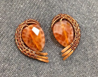 Fired agate wire woven post earrings