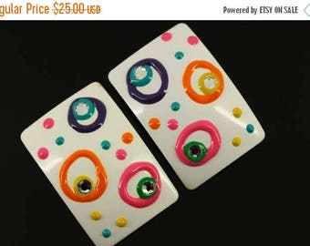 50% OFF Big 1970s Mod Clip On Earrings - Bright Summer Abstract Pastel - Spring Summer White Pink Aqua Enamel, Vintage Mid Century Mad Men S