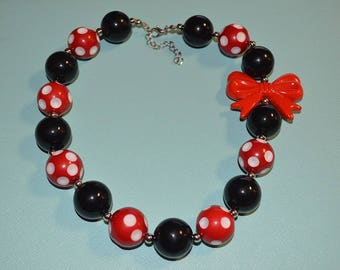 Cute Minnie Mouse Inspired Chunky Bead Necklace
