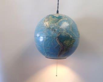 "Globe Pendant light, RandMcnally World Portrait Globe 12"" Faded light blue vintage globe pendant light"