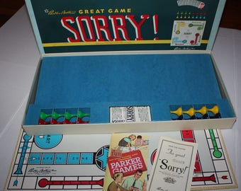 Vintage Sorry Board Game Parker Brothers 1958 Complete Sorry!