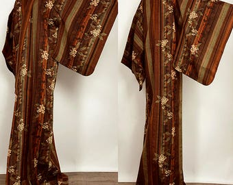 K73001 Cool Japanese  Hitoe Wool Shima Komon Kimono Vintage