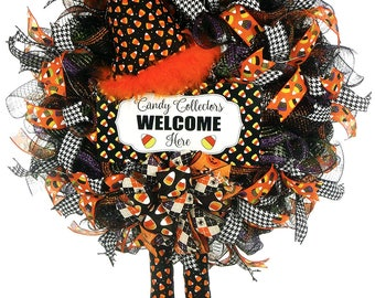candy corn witch candy corn decor candy corn wreath halloween candy corn - Halloween Candy Wreath
