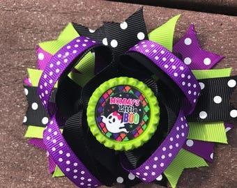 Halloween bow mommy's little boo halloween hair bow halloween headband hair bow babys first halloween bow halloween costume bo