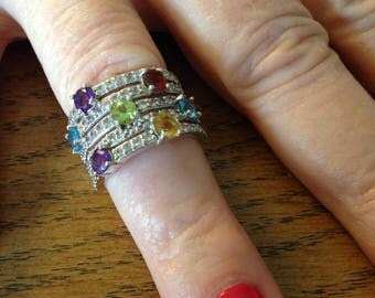 Sterling Silver Amethyst, Garnet, Peridot and Topaz Ring