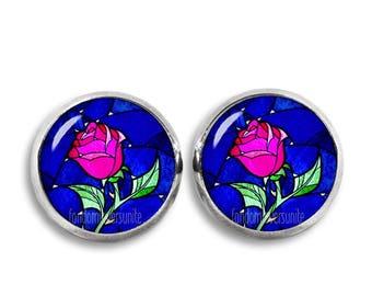 Beauty and the Beast Stud Earrings Enchanted Rose 12mm Earrings Fandom Jewelry