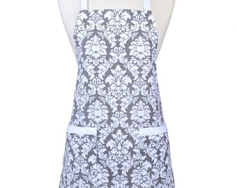 Womens Cute Gray and White Dandy Damask Apron Traditional Kitchen Chef with Pockets and Adjustable Neck