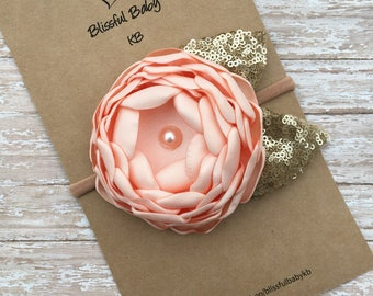 Satin flowers headbands, headbands, singed flower headbands, easter headbands, flower headbands, spring headbands, peach headbands