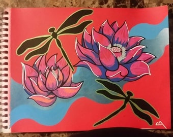 SOLD- Dragonflies and Lotus Flowers (SOLD)