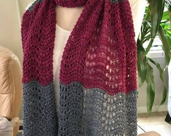 Knit Scarf / Knit Lace Scarf