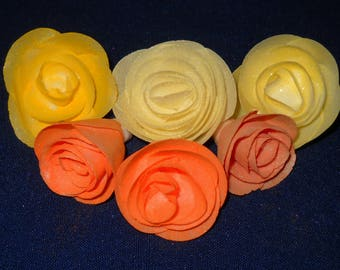 Edible Cake Decoration/Cupcake Topper Wafer Flower Rose Set of 6 Mixed Yellow/Orange Weddings, Anniversaries, Birthdays Special Occasion