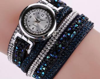 New Leather Wrap Around Navy Blue Watch with Plenty of Style and Bling - Fits Average Size Adult Wrists