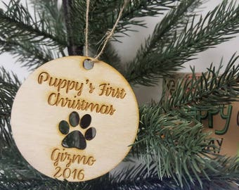 Personalized Christmas Tree Dog Puppy First Christmas Ornament Year Paw Print Name and Year Family Christmas Dog Lover Fur Baby Mom