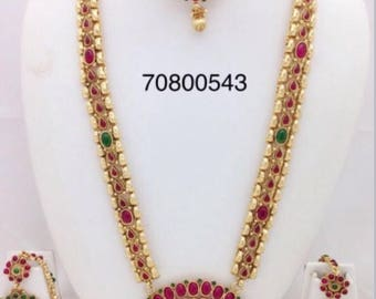 Elegant long traditional South Indian style Necklace with earrings and head piece included/ Gold Plated Jewelry Temple Jewelry/Bridalset/
