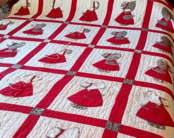 Dutch Doll Quilt Red White and Gray and Perfect with Primitives
