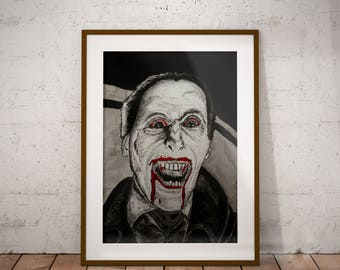 Christopher Lee DRACULA Gothic Dark Lowbrow hammer films Horror Movie Wall Art Print