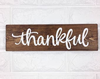 Thankful | Wood Sign | Handlettered | Handmade