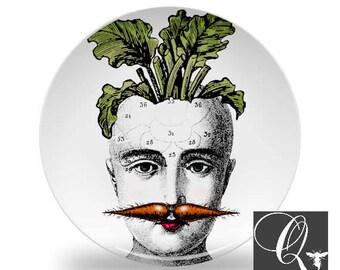 Carrot Art Plates,melamine dinnerware,melamine plates,quirky art plates,Easter plates,face plates,vegetable dinnerware,gift for vegan #107