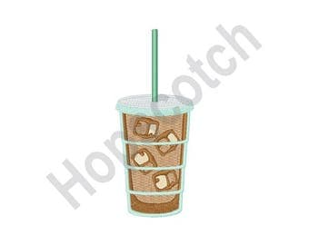 Iced Coffee - Machine Embroidery Design - 4 X 4 Hoop, Beverage, Drink