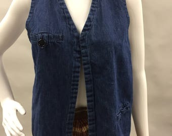 Lee 1970's Open Front Denim Vest with Chest Pocket | Size Small | Union Made in the USA | Hippie | Hipster | Bohemian
