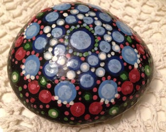 Painted Pebble - Dotty pattern, mandala inspired, gift idea