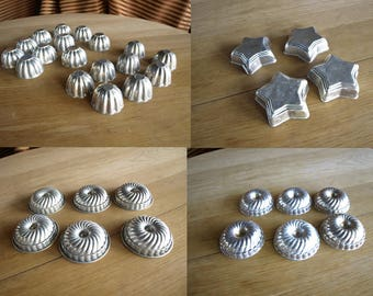 Vintage Aluminum Mini Bundt Cake / Jello / Tart Molds – Various Styles and Sizes – 34 total – will part out