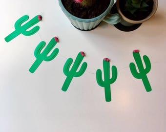 Cactus Green & Pink Flower Bunting