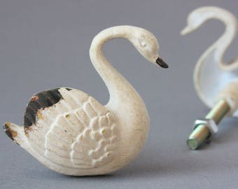 Cream Pewter Swan Door / Drawer / Cupboard Knob ~ Pull ~  Upcycling Project