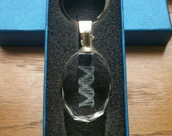 3D Engraved DNA Double Helix Crystal Key Chain