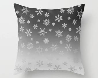 Gray Pillow, Pillowcase, Grey Pillow, Ombre Pillow, Snowflake Pillow, Winter Pillow, Throw Pillow, Pillow Cover, Toss Pillow, Sofa Pillow