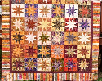 Rusty Stars - King Bed Quilt