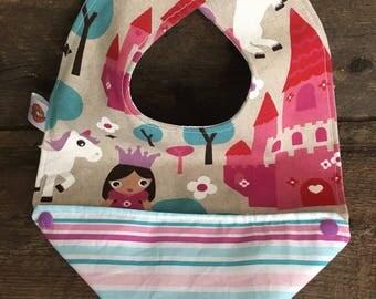 Scalable reversible bib for baby kids bandana bavana Princess bib Pink Purple Unicorn Castle