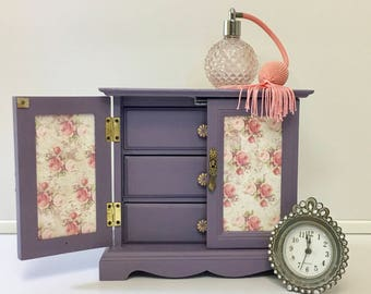 Hand Painted Lilac Purple Shabby Chic Jewelry Box, Vintage Music Box, Gift for her