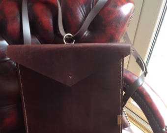 A recycled Hand Stitched Backpack from Saddle Leather