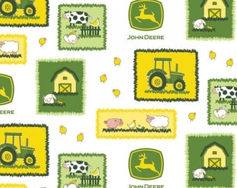 16251 - JOHN DEERE FABRIC, John Deere Farm Scene Patches, Springs Creative, John Deere Scenes With Tractors & Logos, Cows, Pigs, Barns