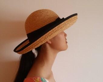 Handwoven straw hat/fashion hat/genuine raffia hat/beach hat/casual hat/women/ladies sun hat/natural hat/wide brim hat/shade hat