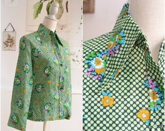 Vintage shirt FLOWER - boho, hippie, 70, S