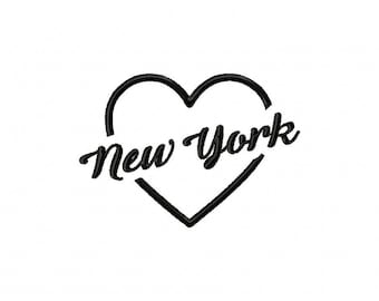 Heart New York embroidery design