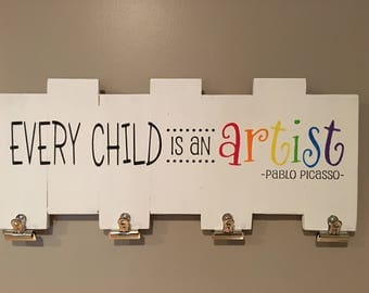 Rustic sign 'Every child is an artist', home decor, children's room decor, children's art work dislplay