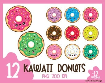 35% OFF, Donut clipart, kawaii clip art, donuts clip art, kawaii donut clipart, kawaii donut clip art, doughnut clipart, Commercial Use