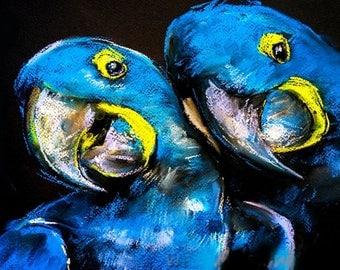 Art Print on Canvas, Colorful painting Parrots, Canvas Art, Interior Art, Living Room Decor