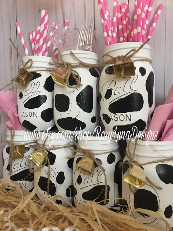 Cow themed party jars birthday party centerpiece home decor - Lola decoracion ...