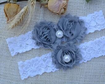 Grey Wedding Garter, White Garter Set, Garter Grey, Bridal Garter Set, Wedding Garter Set, Grey Garter, Rhinestone Garter, Lace Pearl Garter