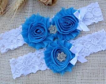 Denim Blue Garter, Lace Crystal Garter, Bridal Garter Set,Gift, Keepsake Garter, Wedding Garter Blue, Bridal Garter Blue, Rhinestone Garters