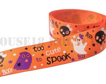 "Ghost Grosgrain Ribbon Halloween Ribbon Spooky Ribbon Printed Ribbon 1"" Wide DIY Hair Bow Gift Wrapping Scrapbooking"